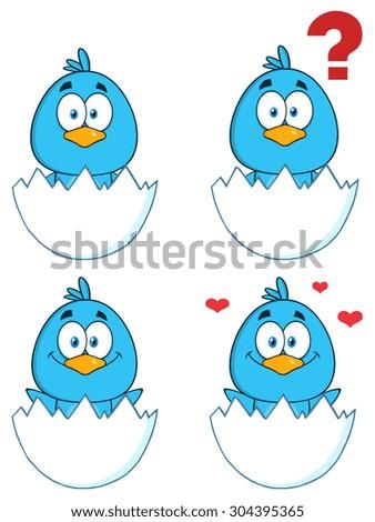 Cute Blue Bird Cartoon Character 1. Vector Collection Set - stock vector