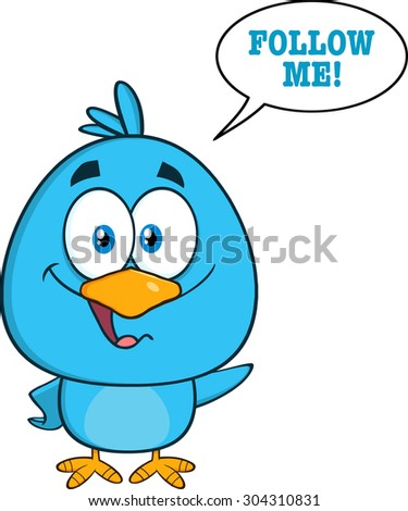 Cute Blue Bird Cartoon Character Waving With Speech Bubble And Text. Vector Illustration Isolated On White - stock vector