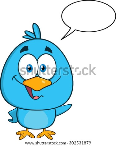 Cute Blue Bird Cartoon Character Waving With Speech Bubble. Vector Illustration Isolated On White - stock vector
