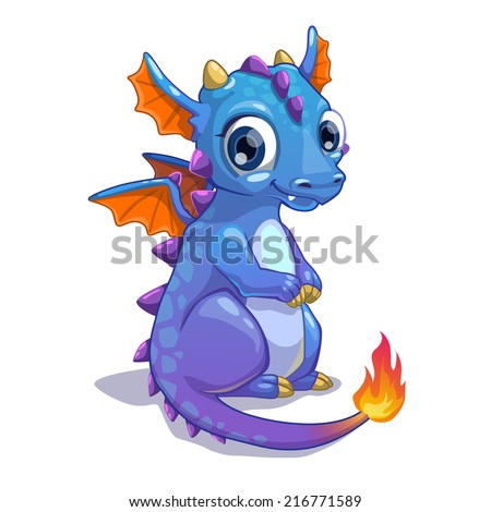 Cute blue cartoon dragon with fire on the tail - stock vector
