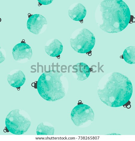Cute Blue Mint Decorative Watercolor Christmas Balls Seamless Pattern It Can Be Used As