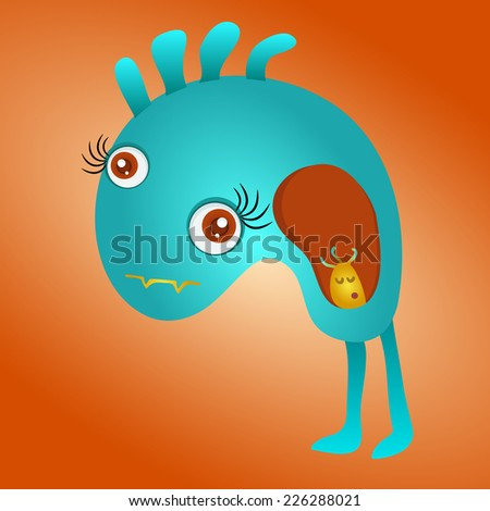 cute  blue monster vector - stock vector