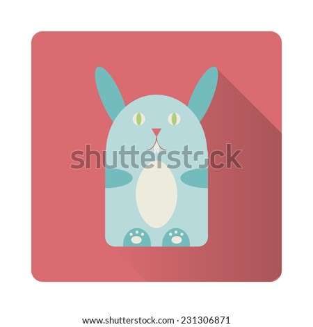 Cute blue rabbit/hare flat icon, vector illustration. - stock vector