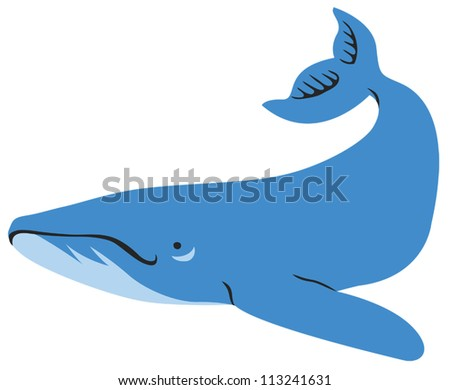 Cute Blue Whale - stock vector