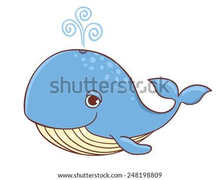 Cute blue whale isolated on white. Vector cartoon illustration. - stock vector