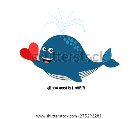 Cute Blue Whale with Heart. Vector illustration about love for cards and invitations - stock vector