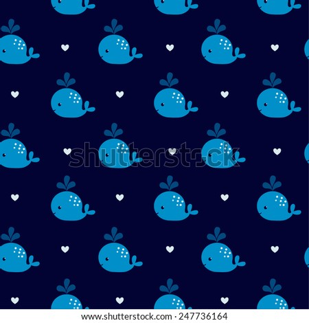Cute Blue Whales On A Dark Background Baby Shower Design Seamless Pattern Can Be