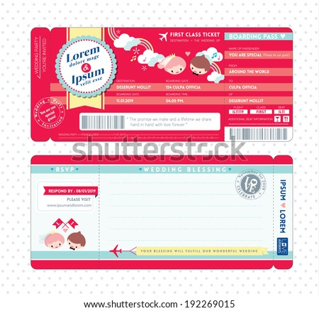 Cute Boarding Pass Ticket Wedding Invitation Template - stock vector