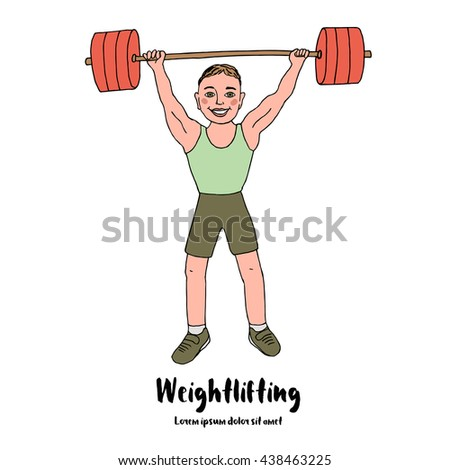 Cute bodybuilder sportsman lifting barbell over his head. Cartoon style vector illustration isolated on white background. Weightlifting sport. - stock vector