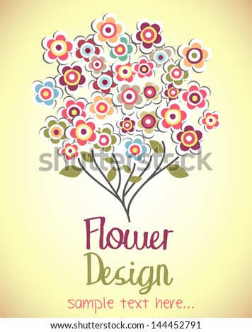 Cute bouquet of flowers. flower card.  vector illustration - stock vector