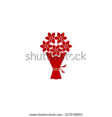 Cute bouquet of flowers. Red flat icon. Vector illustration symbol - stock vector