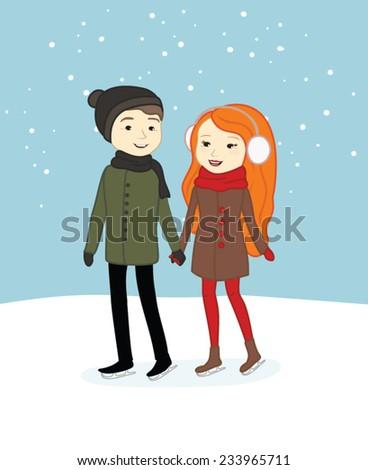 Cute boy and girl ice skating - stock vector