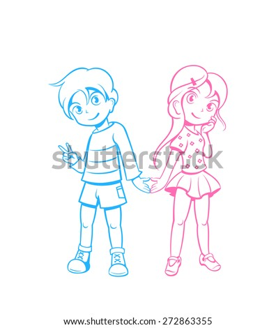Cute boy and girl in love in anime style - stock vector