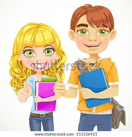 Cute boy and girl teenagers are ready for the new school year - stock vector