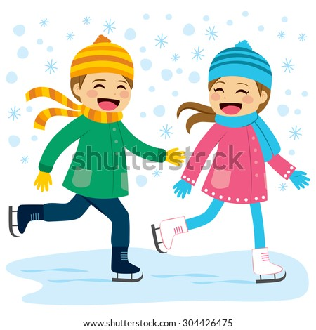Cute boy and girl wearing warm winter clothes ice skating together on frozen lake - stock vector