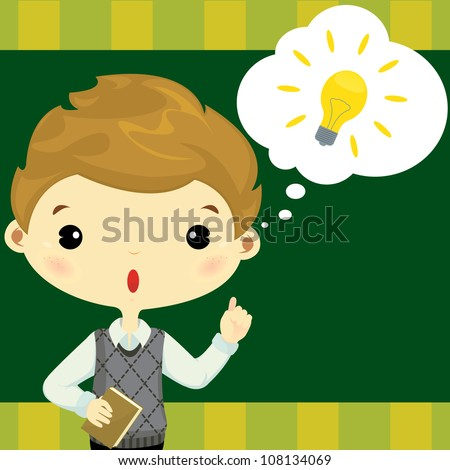 Cute boy comes up with good idea - stock vector