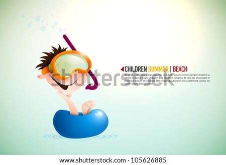 Cute Boy Enjoying Summer At The Beach | Layered EPS10 Vector Background - stock vector