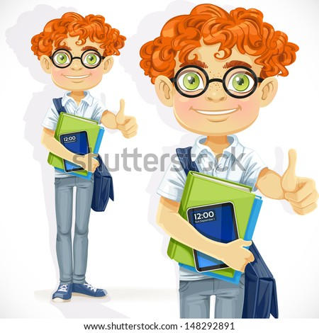 Cute boy in glasses with textbooks - stock vector