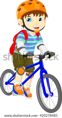cute boy on a bicycle - stock vector
