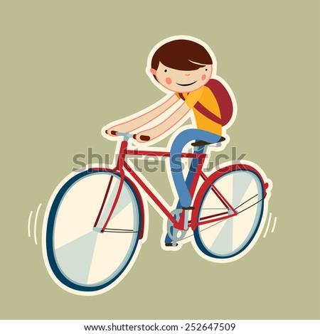cute boy on a bike. cartoon character isolated. vector illustration - stock vector