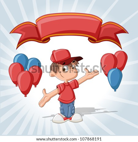 Cute boy on a birthday party with balloons and red ribbon. - stock vector