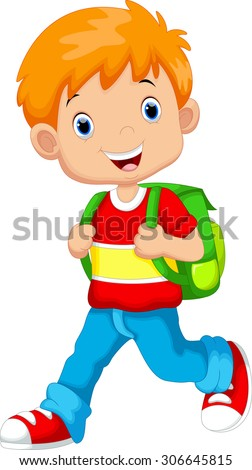 Cute boy on his way to school - stock vector