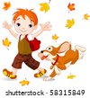 Cute boy on his way to school at autumn day. - stock vector