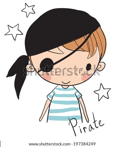 Cute boy pirates. - stock vector