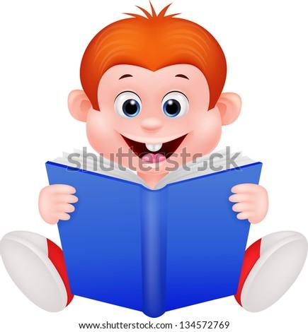 Cute boy reading book - stock vector