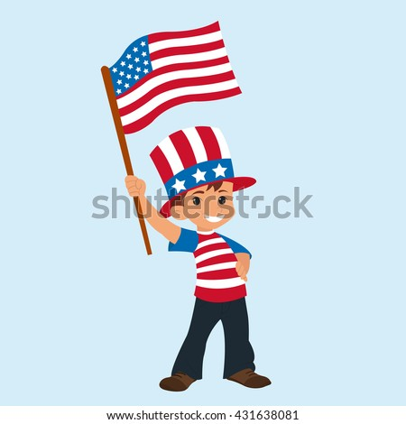 cute boy with an American flag. Happy Independence Day. vector