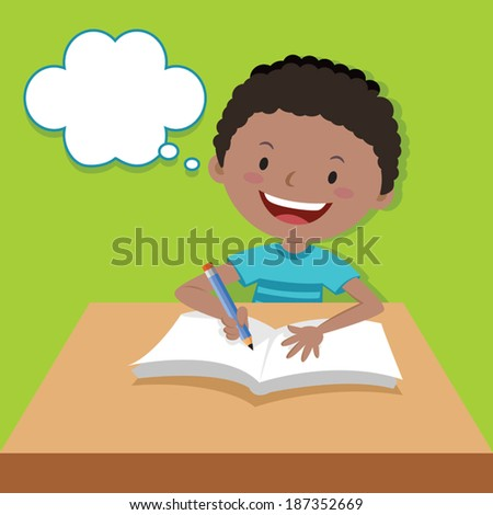Cute boy writing and thinking. Vector illustration of a little boy writing at his desk. - stock vector