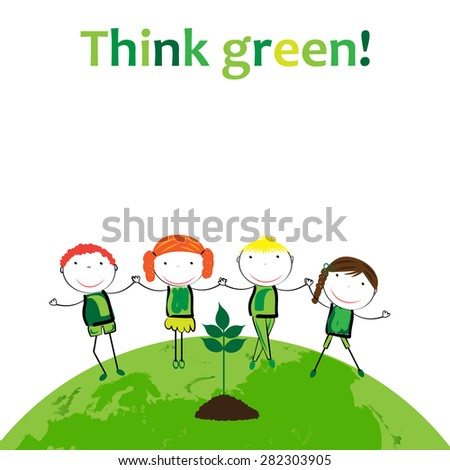 Cute boys and girls protection the earth. - stock vector