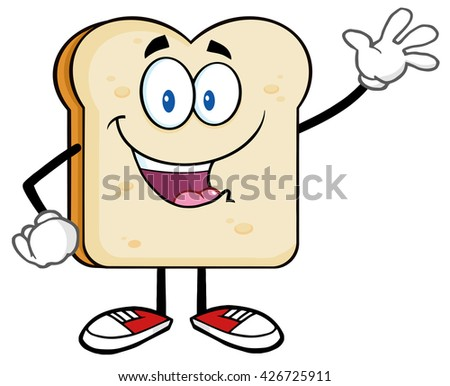 Cute Bread Slice Cartoon Character Waving For Greeting. Vector Illustration Isolated On White Background - stock vector