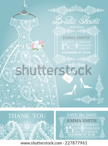 Cute Bridal shower invitation.Retro females wedding  dress Dress with paisley lace,high-heeled shoes.Fashion vector Illustration - stock vector