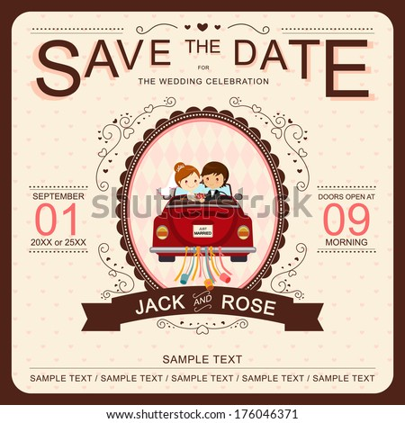 Cute Bride and Groom in Red Car Wedding Invitation Template - stock vector