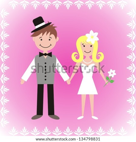 Cute bride and groom on pink background with white ornamental frame - stock vector