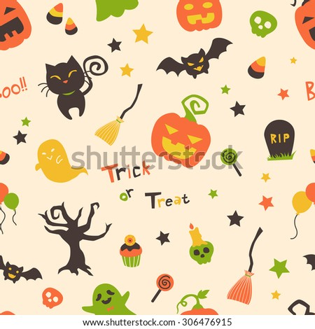 Cute bright cartoon halloween seamless pattern with pumpkins, black cat, ghost, bats, candies, and stars. Suitable for wallpaper, wrapping paper, and fabric or textile pattern - stock vector