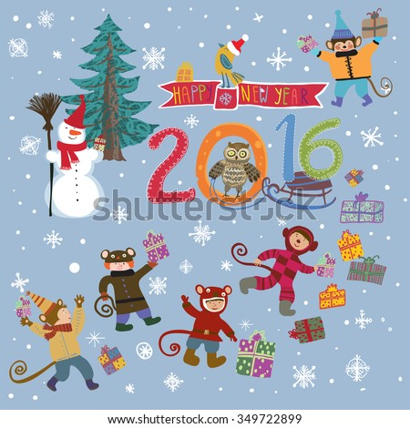 Cute, bright Christmas card with cartoon monkey babies in suits with gifts, snowman in a hat and scarf with a broom, Christmas tree and an owl and bird Santa Claus. Snowflakes falling from the sky. - stock vector
