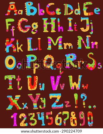 Cute bright ethno alphabet and numbers