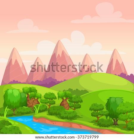 Cartoon Flat Seamless Landscape Separated Layers Stock