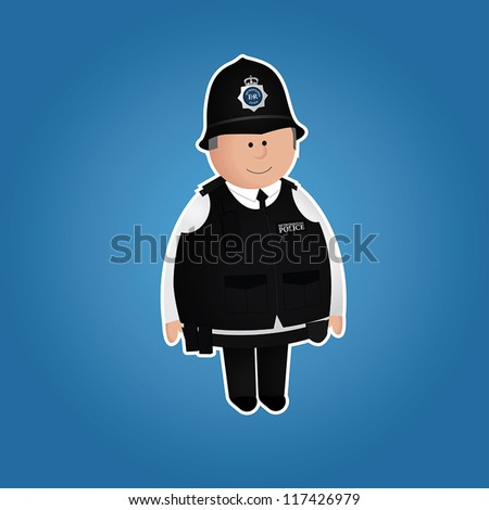 Cute british police officer character in everyday uniform. White border and blue background can be easily removed. EPS 10 file. - stock vector