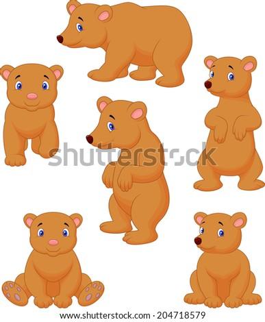Cute brown bear cartoon collection - stock vector