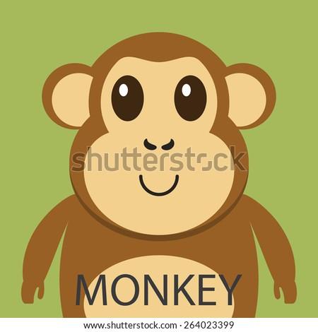 Cute brown monkey cartoon flat icon avatar. - stock vector