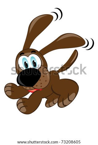Cute brown playful puppy. Illustration on white - stock vector