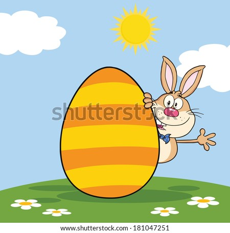 Cute Brown Rabbit Cartoon Character Waving Behind Easter Egg. Vector Illustration  - stock vector