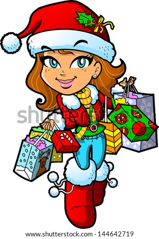 Cute Brunette Girl With Santa Hat On a Christmas Shopping Trip With Lots of Bags - stock vector