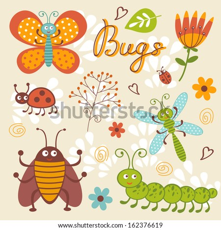 Cute bugs collection. Vector format - stock vector
