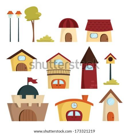 Cute Building Vector, Town - stock vector