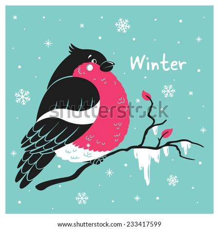Cute bullfinch on a branch in the snow. Vector card. - stock vector