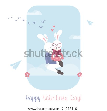 Cute bunnies with book. Greeting card for Valentines Day. - stock vector